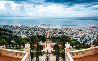 Panorama of Haifa - port and Bahai garden at sunset, Israel