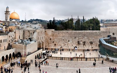 Panoramic view of Western Wall and Dome of Rock in Old City in Jerusalem, Israel