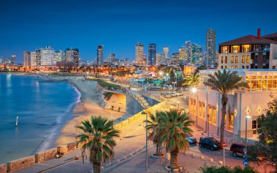 Cityscape image of Tel Aviv, Israel during sunset.