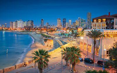 Cityscape image of Tel Aviv, Israel during sunset.
