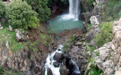 The Saar Falls, four kilometers from the Nimrod Fortress in the Golan Hights , Israel.
